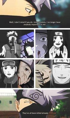 The first time I saw this, my heart broke instantly. Kakashi is such a deep character! Naruto Kakashi, Anime Naruto, Naruto Sad, Naruto Comic, Naruto Shippuden Anime, Manga Anime, Naruto Movie 9, Madara Uchiha, Boruto