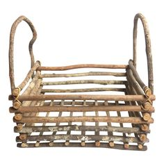 Vintage mid century frontier style wood basket - intricately hand made from natural wood and bound with grapevine with two handles. Rustic Baskets, Wooden Basket, Wooden Crates, Twig Crafts, Driftwood Crafts, Craft Stick Crafts, Wood Home Decor, Wooden Decor, Wooden Diy