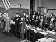 Reciting the pledge of allegiance to the flag in school, vintage
