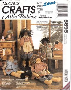 """McCalls 5695 Boy Girl Attic Babies 17.5"""" Dolls and Clothes Vintage OOP Scarce UNCUT"""