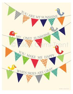 Kids Wall Art You are my sunshine pennant print by EllenCrimiTrent, $18.00