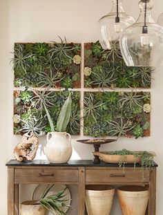 Wall succulent frames Faux Succulents, Planting Succulents, Outdoor Planters, Outdoor Walls, Garden Planters, Succulent Wall Planter, Succulent Frame, Pottery Barn Outdoor, Frames On Wall