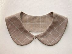 Peter Pan collar plaid fabric beige blue by bluetwinkie1 on Etsy, $16.00