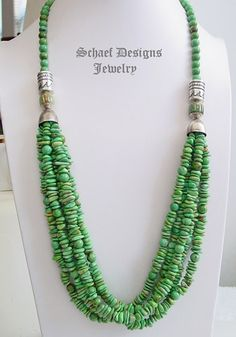 Schaef Designs green turquoise and sterling silver tube bead multi strand long necklace   Schaef Designs Southwestern Basics Collcetion