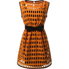 Moschino macrame open lace dress (8.665 BRL) ❤ liked on Polyvore featuring dresses, vestido, moschino, boat neck dress, lace circle skirt, orange skater skirt and macrame dress