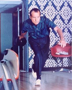 President Richard Nixon Bowling at the Bowling Alley in the Executive Office