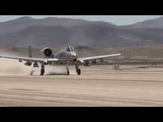 A-10 'Warthog' landing on a dirt runway