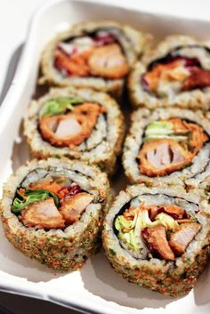 Spicy Tuna Tempura Maki - Link leads to spicy tuna rolls.  For Tuna Tempura recipe inside the rolls - http://www.bostonchefs.com/recipe/yellowfin-tuna-tempura-avocado-salsa-and-soy-dippi/