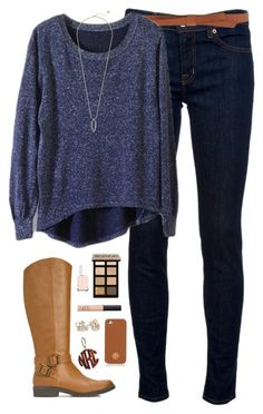 """""""not so cold winter day"""" by classically-preppy ❤ liked on Polyvore featuring J Brand, Ganni, JustFab, Bobbi Brown Cosmetics, Essie, NARS Cosmetics, Kate Spade, Tory Burch and Kendra Scott"""