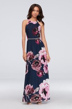 731035294f Floral Print Chiffon Halter Dress with Beaded Belt Style 9171244