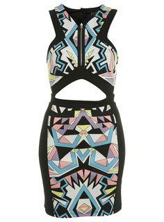 Miss Selfridge Petites Mirror Print Zip Dress | Bodycon Clothes & Clothing