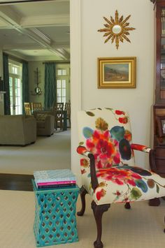 This is such a statement peice.  I've got some upholstery just like this at home! --watercolor print upholstery