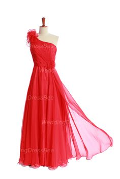 A-line sheer chiffon bridesmaid gown with one shoulder