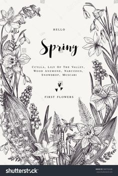 Floral wreath with spring flowers. Vector vintage botanical illustration. Black and white.