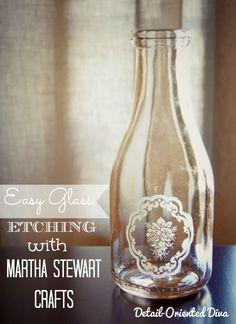 : Easy Glass Etching with Martha Stewart Crafts (Bottle Painting Martha Stewart) Cute Crafts, Crafts To Do, Diy Crafts, Pot Mason, Mason Jar, Pots, Martha Stewart Crafts, Glass Etching, Etched Glass