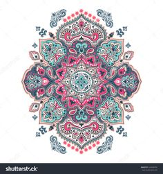 Indian Floral Paisley Medallion Pattern Ethnic Stock Vector 524948782 ...