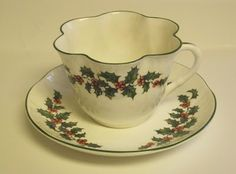 Crown Staffordshire fine bone china Tea Cup and Saucer, England, Holly Berry.
