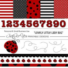 Ladybug Lady Bug Clipart  Papers  Elements  by 4UPrintableDesigns, $3.50