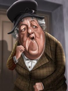 caricature of Dame Margaret Rutherford as Miss Marple