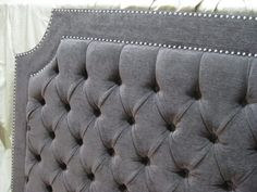 Grey Tufted Upholstered Headboard with curved corners