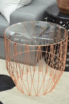 a rosy glow... glass topped copper wire side table from The General Store furniture and homewares, Osborne Park