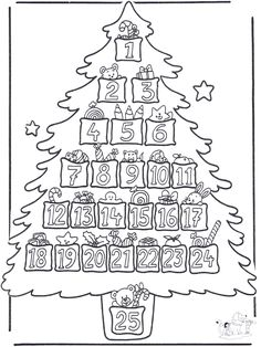 Advent Christmas Tree Coloring Page Noel Christmas, Christmas Countdown, Christmas Wreaths, Christmas Calendar, Colorful Christmas Tree, Christmas Colors, Christmas Activities, Christmas Printables, Christmas Tree Coloring Page