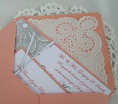 Coral n Linen Wedding Invitation w Doily Lace Envelope & Silver Elegant Embossing Shabby Chic Invitation Sample Custom Any Color