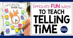 Fun activities that teach telling time to first, second, and even third graders. Telling Time Games, Telling Time Activities, Teaching Time, Hands On Activities, Fun Activities, Quotes For Students, Quotes For Kids, Time Games For Kids, Kids Fun