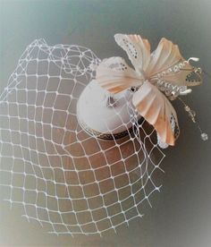 Real silk Hair Accessory with veil White butterfly. by TatiKoandCo