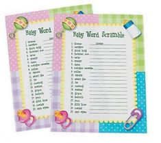 Baby Shower Challenge Game Cards x 24 Fun Party Games
