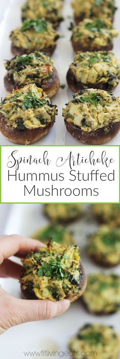 Spinach Artichoke Hummus Stuffed Mushrooms - FitLiving Eats by Carly Paige Vegan Appetizers, Appetizer Recipes, Party Appetizers, Simple Appetizers, Dinner Recipes, Healthy Stuffed Mushrooms, Mushrooms Recipes, Tapas, Healthy Party Snacks