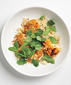 Japanese inspired Teriyaki Tilapia With Herb Salad 1 cup brown rice, 4 6-ounce tilapia fillets, 1/4 cup teriyaki sauce, 1/4 cup fresh cilantro leaves 1/4 cup fresh mint leaves. 2 scallions, thinly sliced 1 Tbs fresh lime juice 1 tsp crushed red pepper