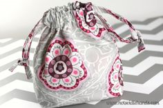 Cute Fabric Drawstring Bags for Neighbor or Teacher Gifts By NotSoIdleHands.com
