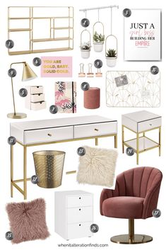 Cozy Home Office, Home Office Setup, Home Office Organization, At Home Office Ideas, Office Inspo, Home Office Furniture Design, Home Office Design, Gold Office Decor, Pink Gold Office