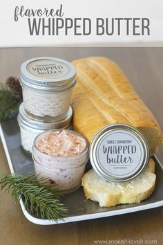 Flavored whipped butter. These are the recipes I used for hostess gifts for our shower, and I got lots of positive feedback! I thought they were pretty tasty myself.