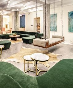 That gold rug? design magic in the lobby is a permanent fixture on our inspo list Link… Farmhouse Stools, Hotel Lobby Design, Shabby Chic Table And Chairs, Hotel Lounge, Chairs For Small Spaces, Banquette Seating, Lounge Design, Interior Decorating, Interior Design