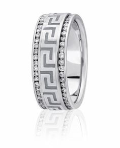 Channel Set Diamond Wedding Band With Greek Key Design