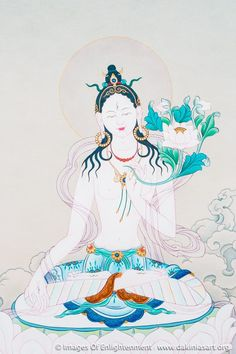 """White Tara - """"the guardian of all fear. She appears as soon as a follower calls. She arrives, ready to put to right the most terrible of situations."""" Assouline"""
