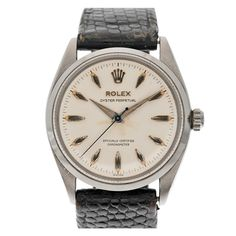 ROLEX Stainless Steel Oyster Perpetual Wristwatch with Original Leather Band circa 1950s- groom