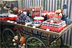 4th of July Dessert Station.Such a clever idea!