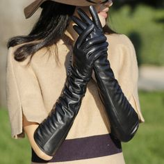 Long leather Gloves Fall Winter Fashion Accessories 2013 2014 Fashion