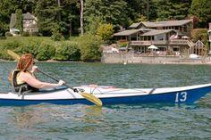 Vashon visitor paddles a rented kayak on Vashon Island's Quartermaster Harbor.