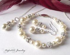 Bridal jewelry Set Pearl Wedding jewelry by nefertitijewelry2009. Possible wedding jewelry? :/