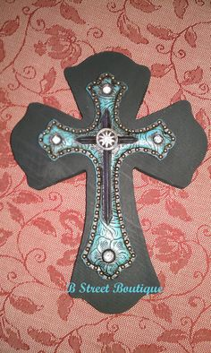 Black & Turquoise Western Wooden Wall Cross by bstreetboutique, $15.00