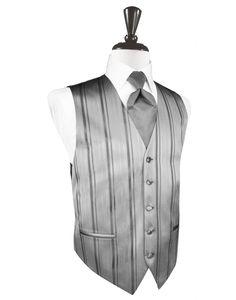 Fathers & Pastor - Silver Striped Satin Tuxedo Vest