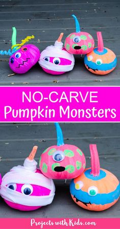 Fun and colorful no-carve pumpkin monsters are an easy Halloween craft kids will love! A perfect addition to your front porch this Halloween season. #projectswithkids #halloweencrafts #nocarvepumpkins