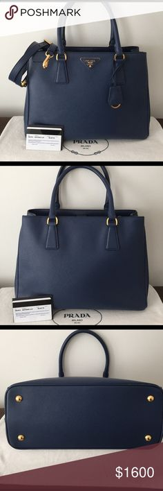 Authentic Prada Saffiano Bluette Gardeners Tote Beautiful Prada Saffiano leather blue gardeners tote bag. Has 1 large zipper pocket that divides inside in 2. Also has 1 zipper pocket and cell phone drop pocket. Comes with a detachable shoulder strap. Comes with authenticity card, dust bag, key ring and original box. Used handful of times and is in very good condition. See photo for slight wear on bottom corner.  New bags at Neimans are priced at $2100. NO TRADES. Prada Bags Shoulder Bags
