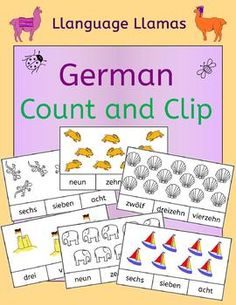 This set of 40 different counting cards is ideal for students first learning German numbers. They do not need to be able to write the number words - they just count and circle with a marker or clip a clothespin next to the correct number.This counting set comprises:20 color counting cards (numbers 1 - 20).