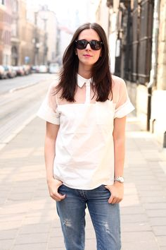 See-Through Blouse, wayfarers and Boyfriend Jeans