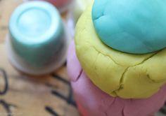 Making homemade play dough.